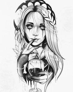Tattoo Sketches, Drawing Sketches, Tattoo Drawings, Body Art Tattoos, Girl Tattoos, Sleeve Tattoos, Badass Drawings, Dark Drawings, Skull Girl Tattoo