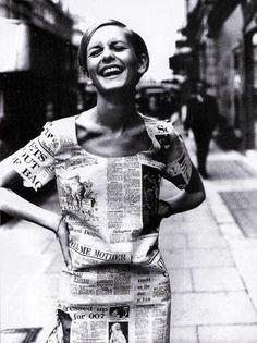 Twiggy wearing a newspaper print dress, London 1967