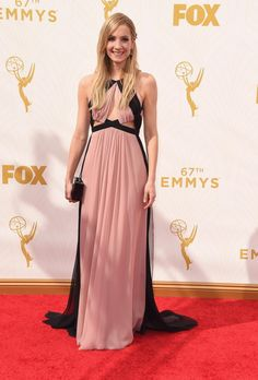 """Downton Abbey"" star Joanne Froggatt traded her period onscreen attire for a J Mendel Resort 2014 cut-out gown at the 67th Annual Primetime Emmy Awards on Sept. 20, 2015."