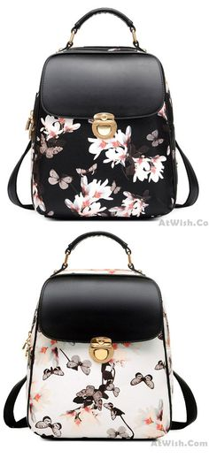 Fresh Girl Butterfly Flower School Bag Casual Backpack is so cute ! #flower #Butterfly #gift #girl #school #college #backpack #bag #rucksack #student #travel #cute