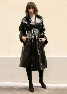 """Large Lapel Patent Oversized Trench Coat 2 SlantPockets. Hidden Button Closure Removable Belt. Fully Lined 43"""" Length, 50"""" Bust 100% Polyester Dry Clean By Weili Zheng. Imported"""