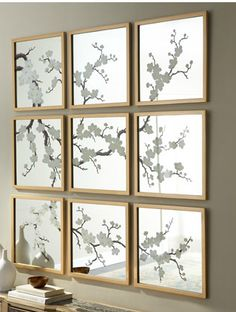 This set of nine hand painted mirrors is $1,645.00 at Horchow. This would be a great DIY project either painting flowering branches on small mirrors yourself freehand or using the free templates from Martha Stewart with complete instructions.
