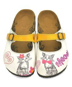 Look at this White & Yellow Cat Slip-On Mule Cat Shoes, Shoe Boots, Yellow Cat, Slip On Mules, Cute Girl Outfits, Kinds Of Shoes, Mules Shoes, Footwear, My Style