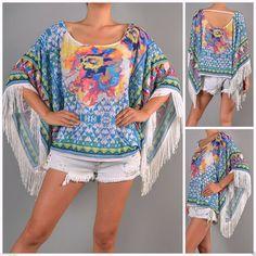 Flying Tomato Fringe Tribal Print Woven Kimono Sleeve Boho Poncho Kaftan Top s L   eBay