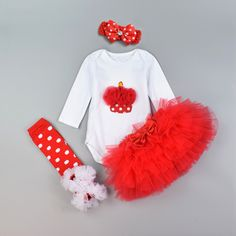 Baby Clothing Set 4pcs  Festival 1st Birthday clothes set Long Sleeve cotton cake heart romper bodysuit and 6 layer tutu skirt