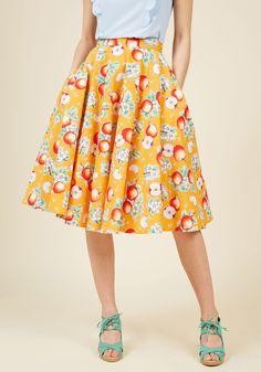 Hell Bunny Ain't That the Fruit? A-Line Skirt in Apples in S, #ModCloth
