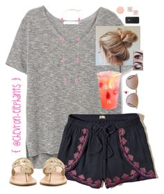 """""""26 days (minus the 2 half days @ the end) left of school!!!"""" by chevron-elephants ❤ liked on Polyvore featuring MANGO, Ray-Ban, Hollister Co., Kendra Scott, Jack Rogers, Smith & Cult and Kate Spade"""