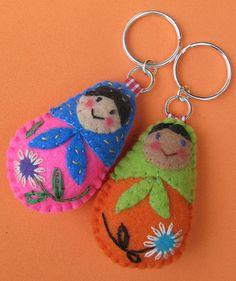 Felt Matryoshka Nesting Doll Key Chains