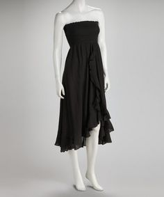 Take a look at this Black Ruffle Convertible Dress by Raviya on #zulily today!