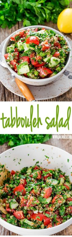 Tabbouleh Salad - a traditional refreshing tabbouleh salad featuring bulgur wheat tomatoes cucumber and loads of parsley and mint dressed with lemon and olive oil.
