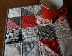 Valentine Patchwork Table Mat Eight Pointed Star by MomTheQuilter