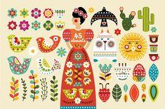 Mexican Artwork, Mexican Folk Art, Mexican Style, Illustrations, Illustration Art, Mexican Pattern, Scandinavian Folk Art, Mexican Designs, Grafik Design