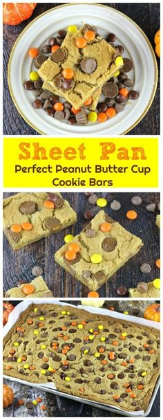 Sheet Pan Perfect Peanut Butter Cup Cookie Bars - So moist and chewy, these delicious peanut butter cookie bars are filled with Reese's Mini Peanut Butter Cups and Ghirardelli Milk Chocolate Chips and some Reese's Pieces for a splash of fall color. Woo-w Peanut Butter Cups, Peanut Butter Cookie Bars, Peanut Butter Recipes, Chocolate Peanut Butter, Chocolate Chips, Köstliche Desserts, Chocolate Desserts, Delicious Desserts, Dessert Recipes