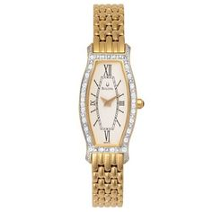 Bulova Women's 98W03 Diamond Gold-Tone Steel Watch Bulova. $235.00. Case diameter: 18 mm. Gold-tone-stainless-steel case; Cream dial. Mineral crystal. Quality Japanese-Quartz movement
