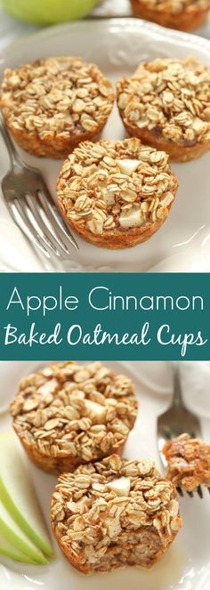 These Apple Cinnamon Baked Oatmeal Cups have no refined sugar and are perfect for an easy and healthy breakfast throughout the week!