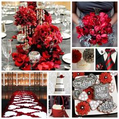 Scarlet Red and Slate Grey Wedding Inspiration Board