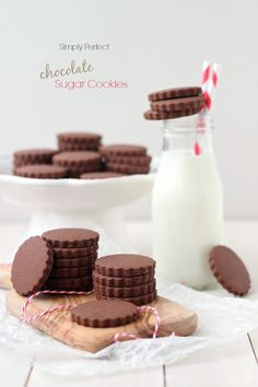 Simply Perfect Chocolate Sugar Cookies (Baking A Moment) Cookie Desserts, Just Desserts, Cookie Recipes, Dessert Recipes, Biscotti, Holiday Baking, Christmas Baking, Chocolate Sugar Cookies, Chocolate Roll