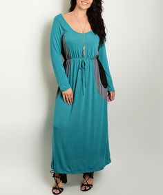 Love this Jade & Black Color Block Scoop Neck Maxi Dress - Plus on #zulily…