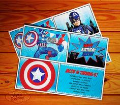Captain America Birthday Invitation with or por VeyasCreations, $10.00