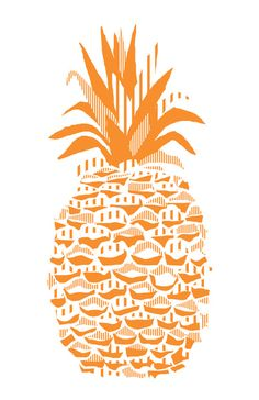Pineapple - Orange Art Print. Pretty cool, may try to do myself Kids Prints, Art Prints, Vegetable Crafts, Fruit Juice Recipes, Food Sculpture, Fruit Picture, Fruit Decorations, Food Patterns, Tropical