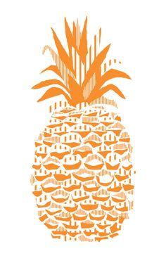 Pineapple - Orange Art Print