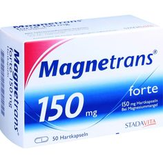 MAGNETRANS forte 150mg Kapseln bei Magnesiummangel:   Packungsinhalt: 50 St Hartkapseln PZN: 03127847 Hersteller: STADAvita GmbH Preis:…