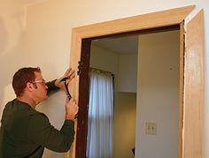 Case a door with mitered trim