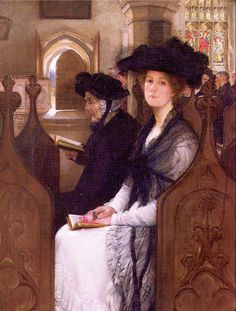 "Wandering Thoughts. Francis Davis (Frank) Millet (American, 1846-1912). Oil on canvas. Millet's paintings are full of whimsy- with great titles like ""Wandering Thoughts""- of a lady in church who is not thinking about the sermon, ""The Love Letter"", ""Caught Between Two Fires""- a clergyman who is caught between two ladies in hot pursuit, and his lovely wife, Lily Merrill was one of his models. Millet was an easel painter, always used a model, and frequently used props from his homes."