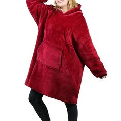 Made of ultra-soft fleece and lined with warming. One size fits all- roomy enough to cover you from head to toe Extra large hood keeps your head comfy and warm Hooded Sweater, Sweater Coats, Holiday Sweater, Red Hoodie, One Size Fits All, Fur Coat, Plush, Coral, Warm