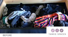 Tamed Spaces de-clutters this underwear drawer in under 60 minutes showing the before, during and after process. Next step is to organise! Declutter, Drawers, Underwear, Organization, Spaces, How To Make, Women, Getting Organized, Organisation