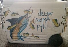 Delta Sigma Phi - frat coolers - Welcome Epoxy Sorority Canvas, Sorority Paddles, Sorority Crafts, Sorority Recruitment, Painted Fraternity Coolers, Frat Coolers, Phi Delta Theta, Tri Delta, Alpha Chi