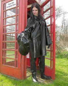 Black Rubber Raincoat, Hat and Black Rubber Waders Blue Raincoat, Raincoat Jacket, Pvc Raincoat, Rain Jacket, Raincoats For Women, Jackets For Women, Rubber Raincoats, Leder Outfits, Rain Gear