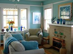 - Coastal-Inspired Design on HGTV-Small living room done very nicely.