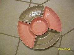 Vintage Chip and Dip Pink Grey Pottery USA Relish Condiment