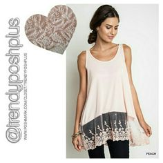 """Ribbed Tank Tunic with Lace Trim Color - Peach  Beautiful lace trim! Ribbed tank stretches  Length 29"""" Bust 38""""  Made in USA  10% discount if bundled! Tops Tunics"""