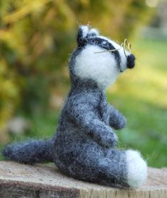 Needle felted badger felt animal badger miniature by Artywool