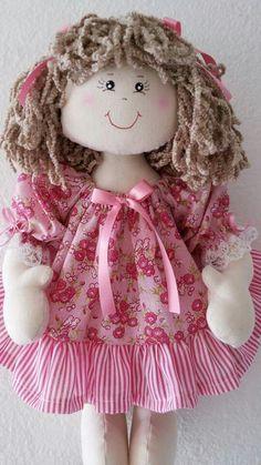 Easter Bunny Toile dress for 18 inch doll Sock Dolls, Felt Dolls, Knitted Dolls, Crochet Dolls, Rag Doll Tutorial, Baby Annabell, Baby Doll Toys, Sewing Dolls, Doll Hair