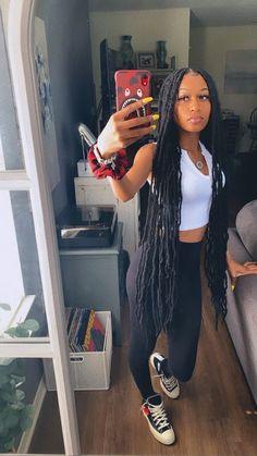 Faux Locs Hairstyles, Black Girl Braids, Braided Hairstyles For Black Women, African Braids Hairstyles, Baddie Hairstyles, Braids For Black Hair, Girls Braids, Black Girl Weave, Protective Hairstyles