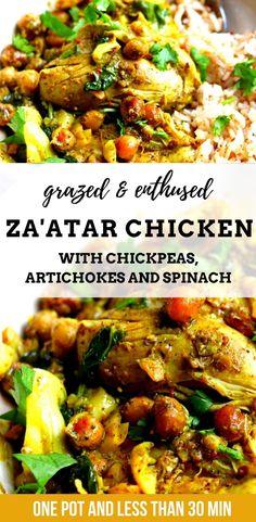 Artichoke Chicken, Artichoke Recipes, Spinach Recipes, Paleo Recipes, Real Food Recipes, Chicken Recipes, Paleo Meals, Zaatar Recipe, Chicken Chickpea