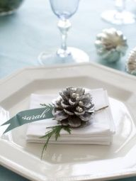 gold table settings with evergreen - Google Search