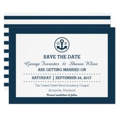 Nautical Anchor Navy Wedding Save the Date 5 x 3 Card - invitations custom unique diy personalize occasions