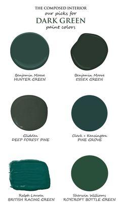 Dark Green Rooms, Dark Green Kitchen, Emerald Green Rooms, Dark Green Bathrooms, Green Accent Walls, Green Accents, Bedroom Green, Bedroom Decor, Green Living Room Walls