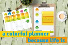 """I made this colorful designs you can use as weekly planner (horizontal) and more detailed daily planner (vertical). I place special section: """"Sketch•notes"""" and """"Good moment to remember"""" because you should find one every day! Also a month planner. #planner #printable #pimentopress https://creativemarket.com/gycouture/1643294-Colorful-planner"""