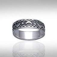 Magick Moon Silver Ring TR082 - Celestial Band ring