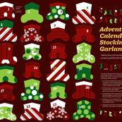 Advent Calendar Mini Stocking Garland fabric by monmeehan on Spoonflower - custom fabric Mini Stockings, Christmas Stockings, Christmas Deco, Diy Christmas Gifts, Christmas Stuff, Fabric Advent Calendar, Advent Calendars, Christmas Stocking Pattern, Personalized Stockings