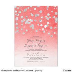 silver glitter confetti coral pink wedding invites