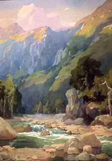 Marion K. Wachtel (1876-1954), Matilija Canyon at Sunset, watercolor on paper, 25 1/2 x 19 3/8 inches