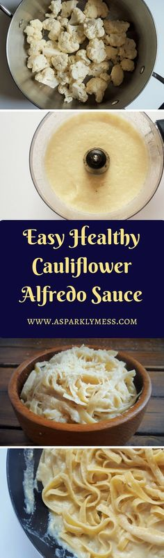 Easy Healthy Cauliflower Alfredo sauce. Seriously Healthy Alfredo! Cauliflower turned into a delicious dish and super healthy sauce! This recipe is so easy and is made in 4 simple steps! I am obsessed with this dish