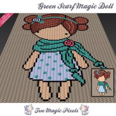Looking for your next project? You're going to love Green Scarf Magic Doll C2C Graph by designer TwoMagicPixels.