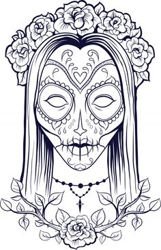 A beautiful (and free!) sugar skull coloring page! #advancedcoloring #sugarskull #freecoloringpages